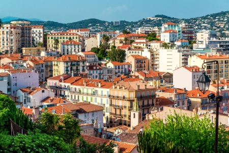 Panoramic aerial view of Cannes city, France photo