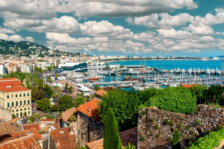 Panoramic view of Le Suquet- the old town and Port Le Vieux of Cannes, France photo