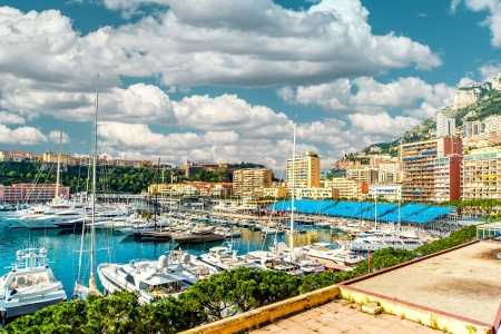 mediterranean houses: Amazing panoramic view of Monaco  Stock Photo