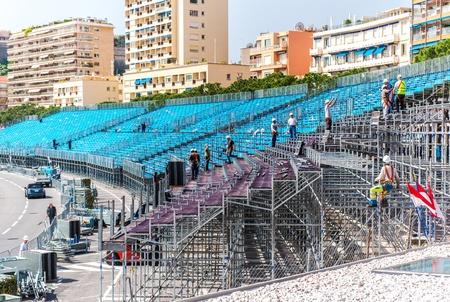 Montage: Tribune Montage Vorbereitung zur Formel 1 Grand Prix von Monaco
