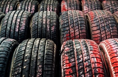 Old tires background Stock Photo - 19654861
