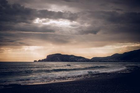 turkey beach: Sunset over the sea. Turkey