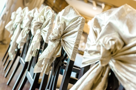 wedding chairs: Wedding chairs at restaurant Stock Photo