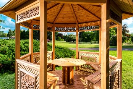 entrance arbor: Inside of wooden gazebo  Stock Photo