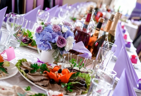 beverage: Wedding table decorations with food and beverages Stock Photo