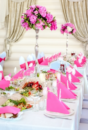 banquet table: Wedding Table Decorations in pink and white colors