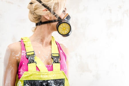 respirator: Woman wearing a respirator Stock Photo