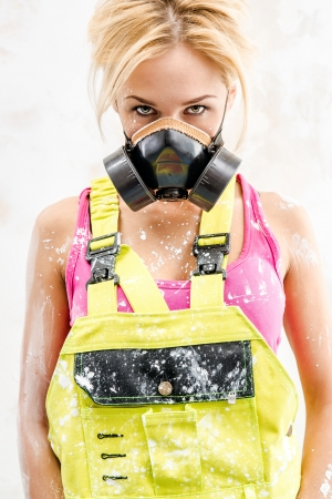 Woman wearing a respirator photo