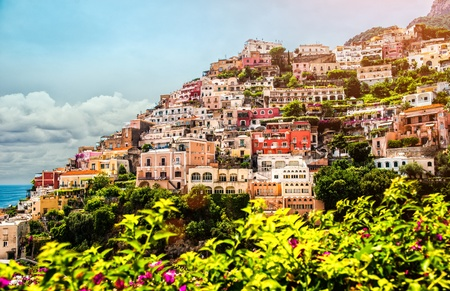 View of Positano. Positano is a small picturesque town on the famous Amalfi Coast in Campania, Italy. photo