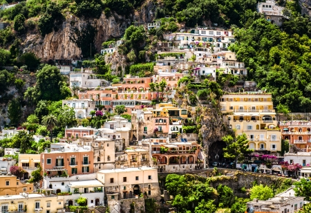 positano: View of Positano. Positano is a small picturesque town on the famous Amalfi Coast in Campania, Italy.