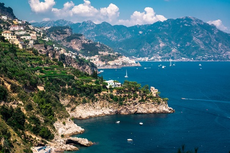Amalfi Coast. Stunning landscape with hills and Mediterranean sea. Italy photo