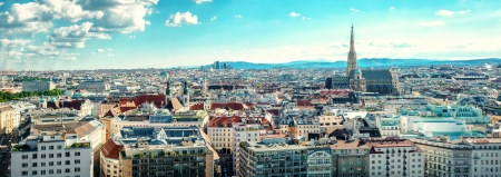 panorama view: Panoramic view of Vienna city. Austria