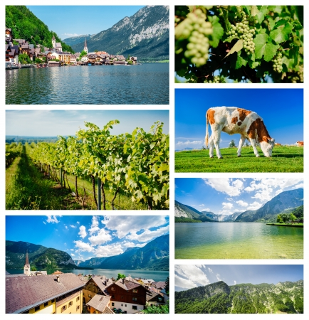 famous places: Collage of famous places in Austria Stock Photo