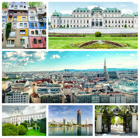 Collage of landmarks in Vienna. Panoramic city view, Upper Belvedere, Donau City, Hundertwasser House,The Museum of Art History and garden walkway at Schonbrunn Palace  photo