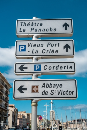 street name sign: Road sign of landmarks in Marseille, France  Stock Photo