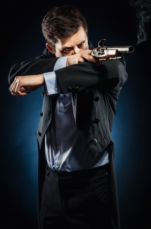 duel: Man with musket Stock Photo