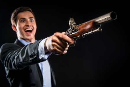 musket: Man with musket, selective focus