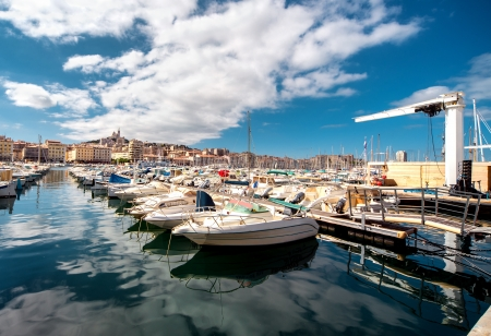 marina water: Old Port of Marseille, France Stock Photo