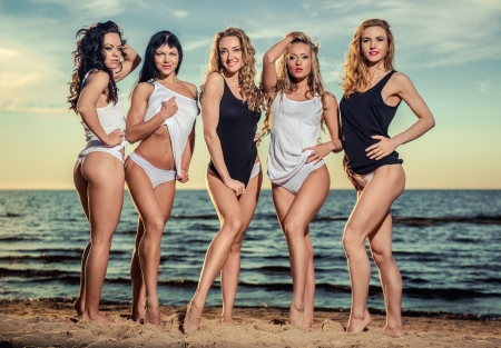 Five sexy ladies posing on the beach at sunset photo