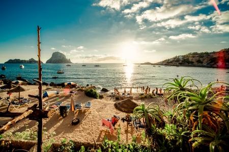 Bekijk van Cala d Hort Beach, Ibiza Stockfoto