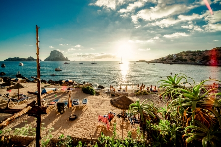View of Cala d Hort Beach, Ibiza photo