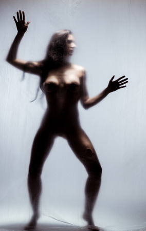 Silhouette of a naked woman photo