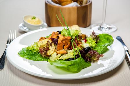 chanterelle: Vegetarian salad with chanterelle Stock Photo