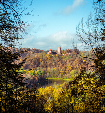 sigulda: Turaida Castle over picturesque autumn landscape  Sigulda, Latvia