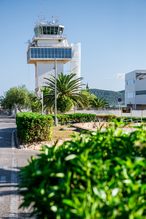 control tower: Control tower of Ibiza airport. Spain Stock Photo