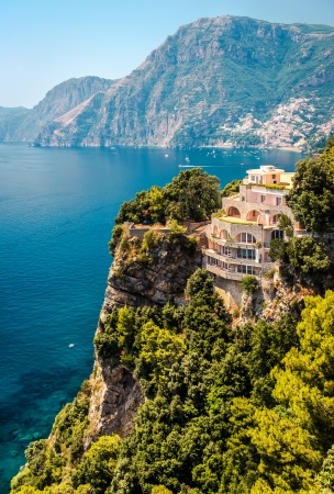 Stunning landscape of luxury villa, mountain range and Mediterranean sea, Via Nastro Azzurro. Amalfi Coast  photo