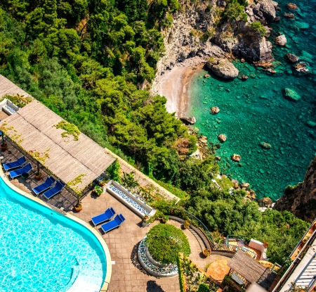View of luxury villa and Mediterranean sea, Via Nastro Azzurro. Amalfi Coast  photo