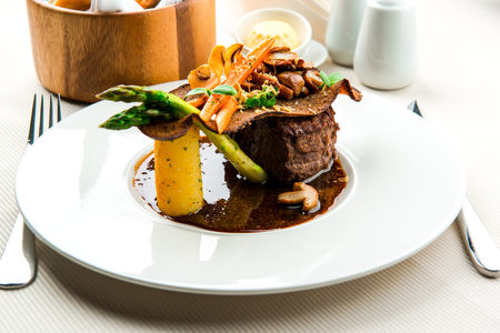 Fillet mignon with vegetables photo