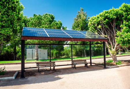 Eco-friendly solar bus stop photo