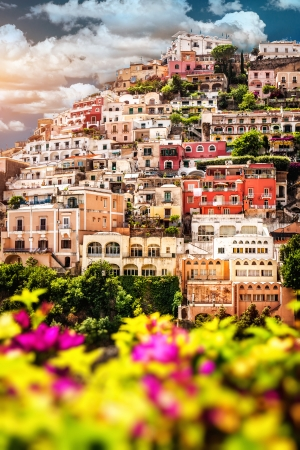 positano: View of Positano  Positano is a small picturesque town on the famous Amalfi Coast in Campania, Italy  Stock Photo