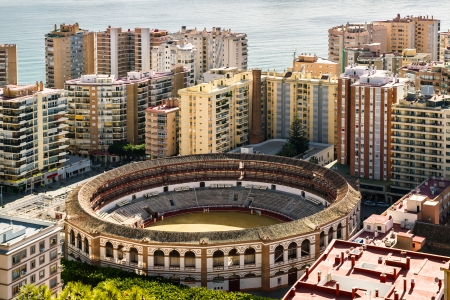 View of bullring, located in the heart of the Malaga city  Spain photo