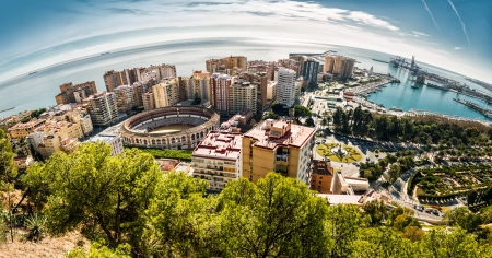 Panoramic view of Malaga bullring and harbor  Spain