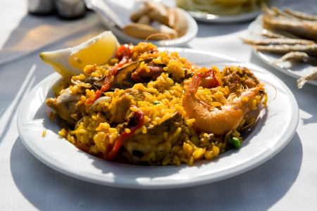 Mixed paella close-up photo