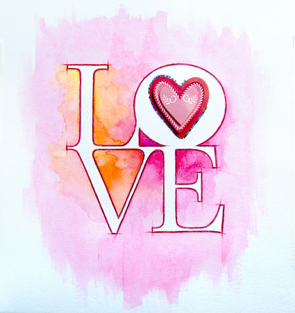Word LOVE over abstract watercolor painting and red heart photo