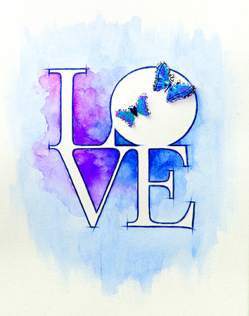 Word LOVE over abstract watercolor painting and two butterflies photo