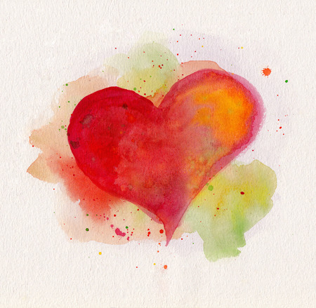 Watercolor heart. Red, yellow and green colors