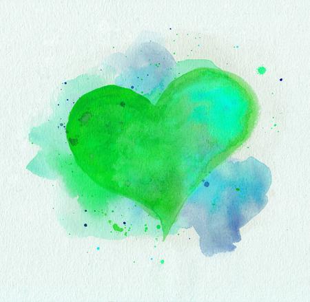 Aquarel hart. Groene en blauwe kleuren
