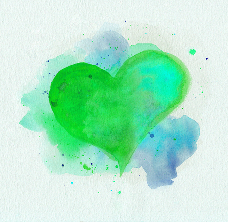love picture: Watercolor heart. Green and blue colors