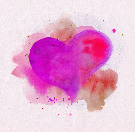 Watercolor heart. Pink and red colors photo