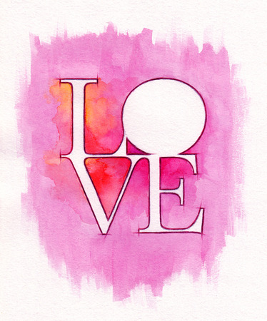 word love: Word LOVE over abstract watercolor painting