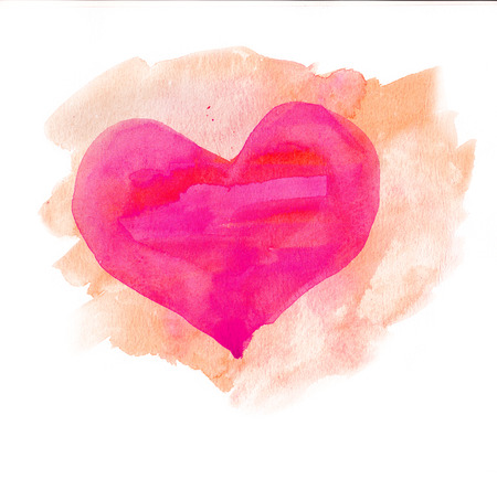 Watercolor heart  Pink and beige colors photo