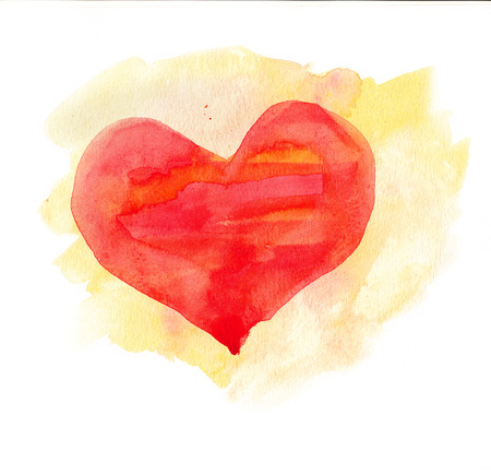 Watercolor heart  Red and yellow colors photo