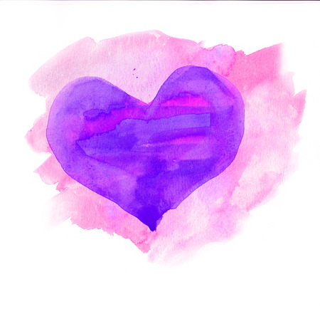 Watercolor heart  Blue and purple colors photo