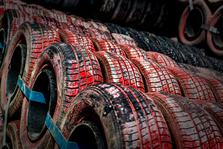 Row of tires  Protection around the track of the grand prix of Monaco Stock Photo - 25845044