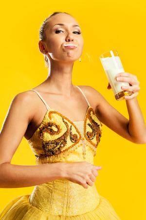 milk mustache: Ballerina with a milk mustache  Stock Photo
