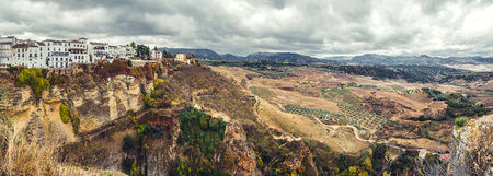 andalusia: Panoramic view of old city of Ronda and surrounding countryside  Province of Malaga, Andalusia, Spain Stock Photo